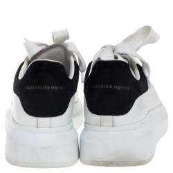Alexander McQueen White/Black Leather And Suede Larry Sneakers Size 36.5