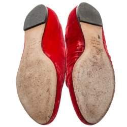 Alexander McQueen Red Velvet Skull Flats Size 36.5