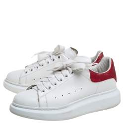Alexander McQueen White/Red Leather Oversized Low Top Sneakers Size 40
