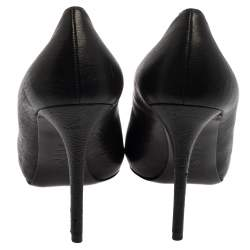 Alexander McQueen Black Leather Skull Peep Toe  Pumps Size 40.5