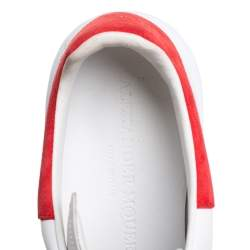Alexander McQueen White/Red Leather And Suede Oversized Low Top Sneakers Size 36.5