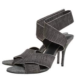 Alexander Wang Black/Grey Fabric Cross Strap Sandals Size 40