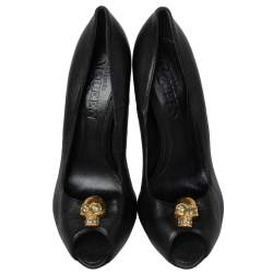 Alexander McQueen Black Leather Crystal Embellished Skull Detail Peep Toe Pumps Size 40