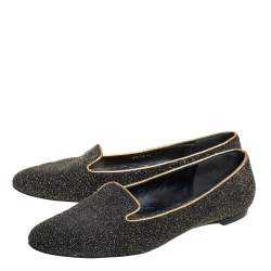 Alexander McQueen Black/Gold Glitter And Leather Smoking Slippers Size 41