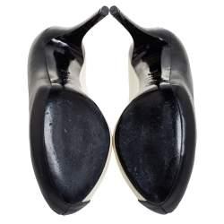 Alexander McQueen Black/White  Leather Peep Toe  Pumps Size 38.5