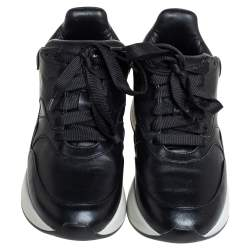 Alexander McQueen Black Leather Larry Sneakers Size 37.5