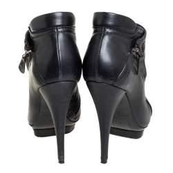 Alexander McQueen Black Leather Zipper Detail  Ankle Boots Size 37