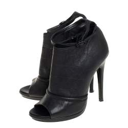 McQ by Alexander McQueen Black Croc Embossed Leather Ankle Strap Booties Size 37