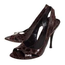 Alexander McQueen Brown Crocodile Leather Criss Cross Slingback Sandals Size 41