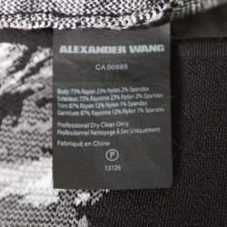 T By Alexander Wang Black Hawaiian Jacquard Sleeveless Bodycon Dress S