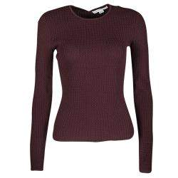 Alexander Wang Burgundy Textured Knit Fitted Sweater S
