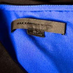 Alexander Wang Black and Blue Crepe Contrast Layered Tunic S