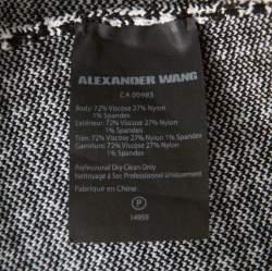 Alexander Wang Black & White Houndstooth Slit Detail Three Quarter Sleeve Top M