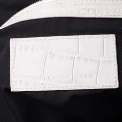 Alexander Wang White Crocodile Embossed Leather Jamie Satchel