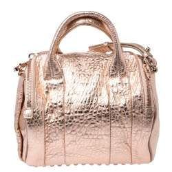Alexander Wang Metallic Rose Gold Textured Leather Rocco Duffel Bag