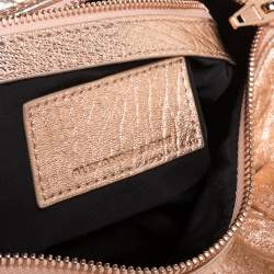 Alexander Wang Metallic Rose Gold Textured Leather Rockie Duffel Bag