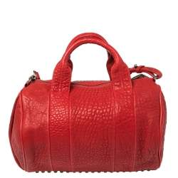 Alexander Wang Red Pebbled Leather Rocco Duffle Bag