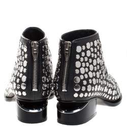 Alexander Wang Black Studded Leather Gabi Ankle Boots Size 36