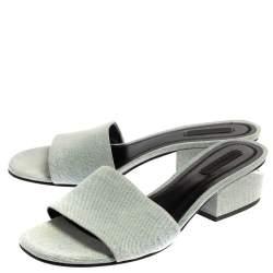 Alexander Wang Blue Denim Fabric Lou Open Toe Mules Size 38.5