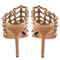 Alexander Wang Brown Suede Embellished Sandals Size 37