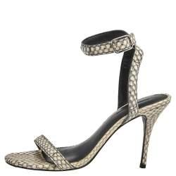 Alexander Wang Beige/Black Snakeskin Embossed Leather Antonia Ankle Wrap Sandals Size 38