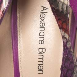 Alexandre Birman Multicolor Python Leather And Suede Pointed Toe Pumps Size 38