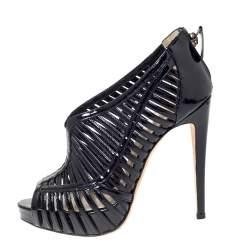 Alexandre Birman Black Patent Leather Cage Platform Peep Toe Booties Size 36