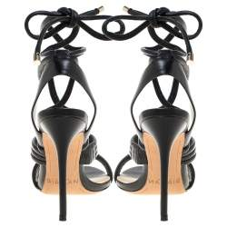 Alexandre Birman Black Leather 'Aurora' Strappy Ankle Wrap Sandals Size 38