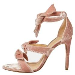 Alexandre Birman Pink Velvet Lolita Knots Ankle Strap Sandals Size 38