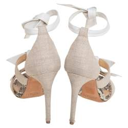 Alexandre Birman White Canvas And Leather Ankle Strap Sandals Size 38.5