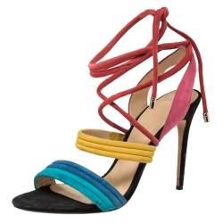 Alexandre Birman Multicolor Suede Aurora Ankle Wrap Sandals Size 41