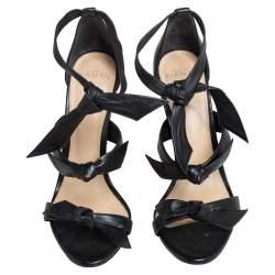 Alexandre Birman Black Leather Lolita Knots Ankle Strap Sandals Size 39
