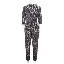 Alice by Temperley Black Floral Lace Belted Eros Jumpsuit L