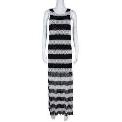 Alice + Olivia Monochrome Striped Crochet Lace Sleeveless Lucia Maxi Dress M