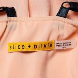 Alice + Olivia Orange Chiffon Leather Strap Detail Kirby Shift Dress S