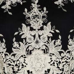 Alice + Olivia Black Floral Embroidered Mesh Tru Crop Top M