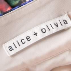 Alice + Olivia Multicolor Floral Print Pleated Fizer Satin Mini Skirt S