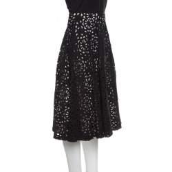 Alice + Olivia Black Floral Laser Cut Flared Viviana Skirt S