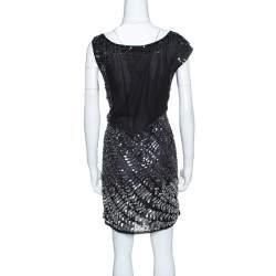 Alice + Olivia Black and Silver Sequin Embellished Sleeveless Charlie Dress L