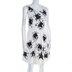 Alice + Olivia Monochrome Floral Sequined Silk  Sleeveless Lillyanne Dress M