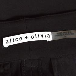 Alice + Olivia Black Crepe Lace Insert Onell Pleat Trousers M