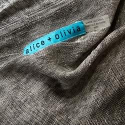Alice + Olivia Grey Light Knit Wrap Front Draped Cardigan M