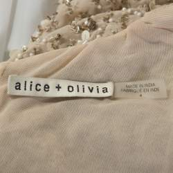 Alice + Olivia Beige Embellished Long Sleeve Lacey Crop Top S