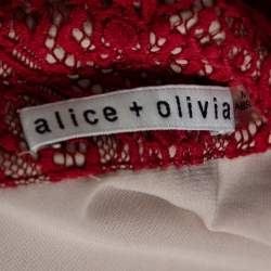 Alice + Olivia Red Floral Guipure Lace Maxi Shirt Dress M