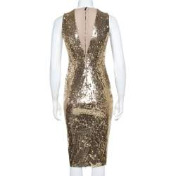 Alice + Olivia Gold Sequined Leora Midi Dress S