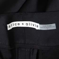 Alice + Olivia  Black Wool Crepe Wide Leg Trousers S