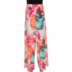 Alice + Olivia Multicolor Abstract Printed Crepe Wide Leg Palazzo Pants S