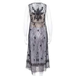 Alice + Olivia Black Embroidered Lace Sheer Ciel Long Vest XS