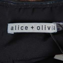 Alice + Olivia Black Tulle Contrast Trim Detail Off Shoulder Top L