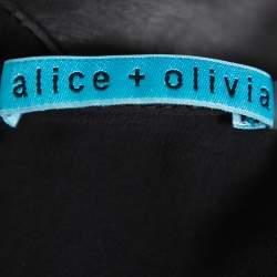 Alice + Olivia Black Leather & Chiffon Paneled Short Sleeve Top S